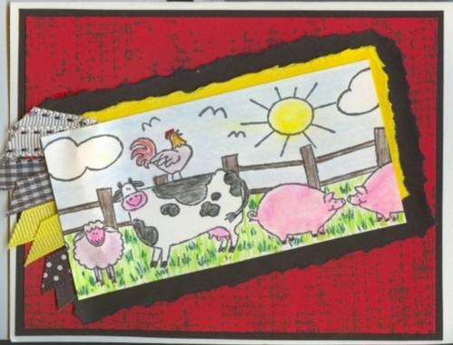 Farmyard Birthday Card for Boss by Betty O